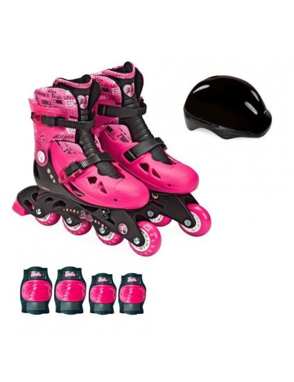 Patins Barbie Ajustáveis 4 Rodas 37 a 40 com Acessórios - 8007-7 - Fun