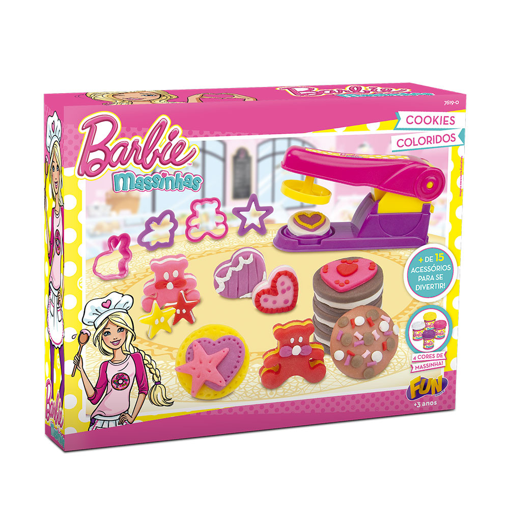 Massinhas Barbie Cookies Coloridos - Fun