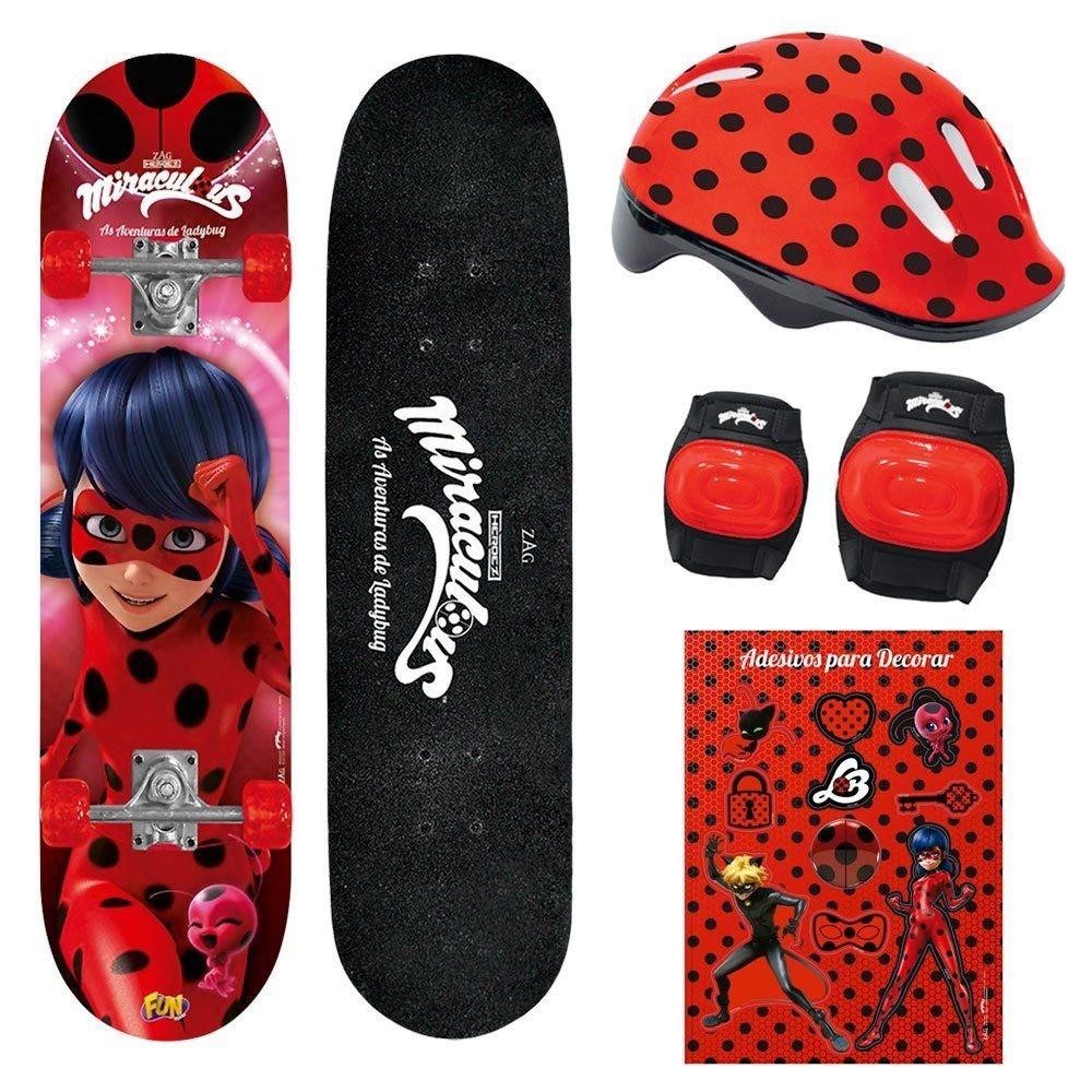 Skate Miraculous com Acessorios LadyBug - Fun
