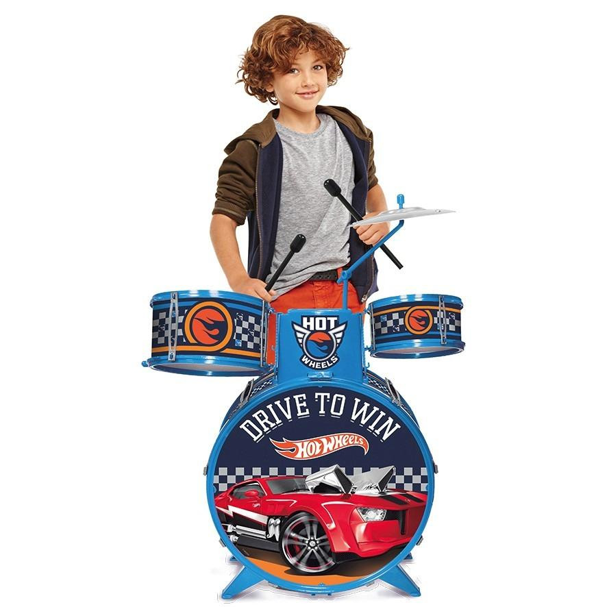 Bateria Infantil Hot Wheels Com Banquinho 7273-4 Fun