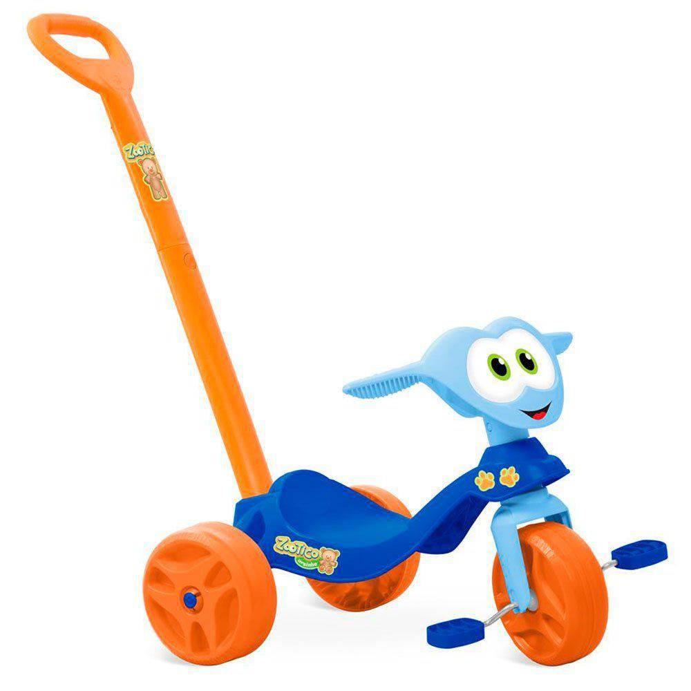 Triciclo Zootico Com Empurrador  - Azul -Bandeirante