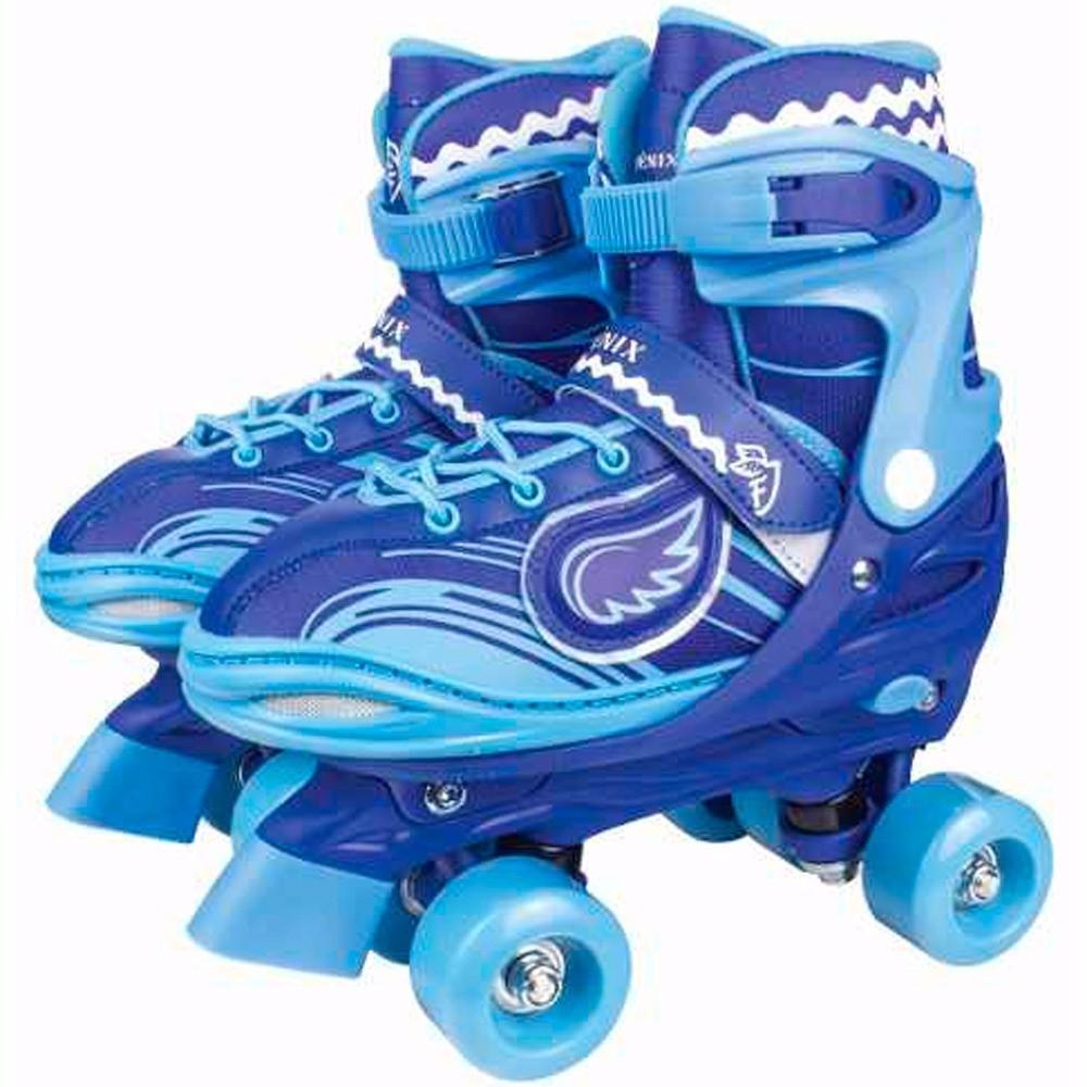 Power Roller Star Patins 04 Rodas Ajustável Azul Com Luz - Fênix 38-41