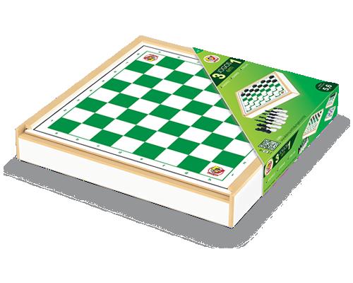 Jogo 3 em 1 Xadrez, Damas e Trilha - Junges