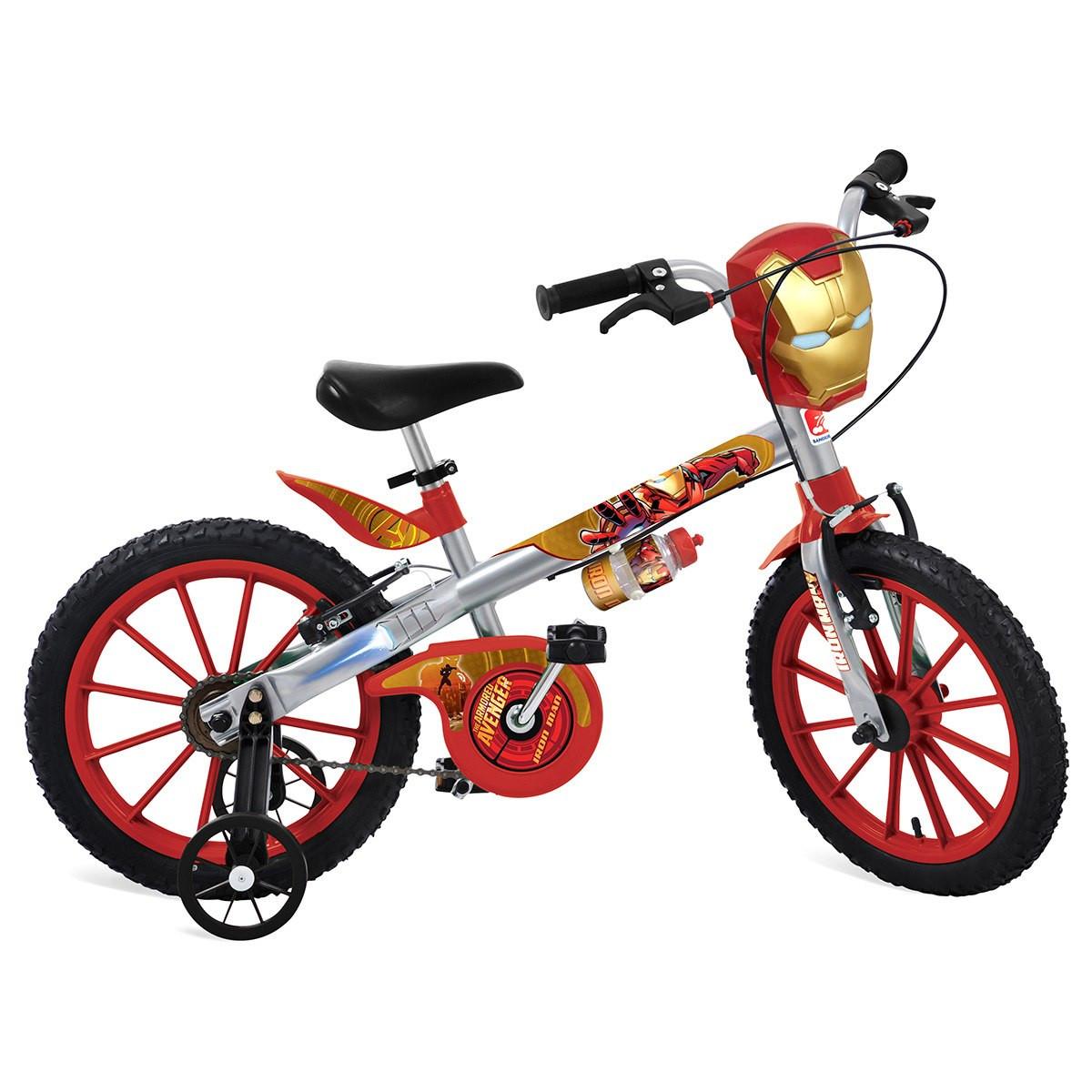 """Bicicleta Infantil Bandeirante Homem de Ferro  Aro 16"""" - Prata/Vermelha"""