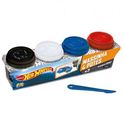 Hot Wheels Massinha 4 Potes - Fun Divirta-Se