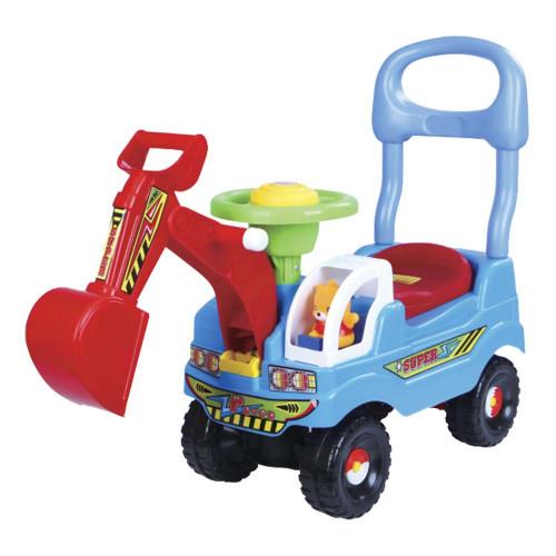 Andador e Carrinho Escavadeira com Volante e Buzina Azul  DM TOYS DMT5607