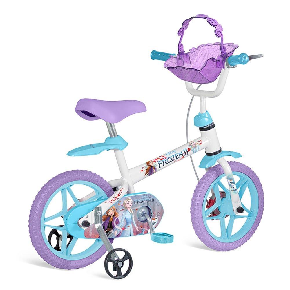 Bicicleta Aro 14 - Disney - Frozen 2 - Branco - Azul e Roxo - Bandeirante