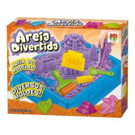 Areia De Modelar Divertida Colors 900g Com 10 Moldes Dinossauro DMT 5122 - Dm Toys