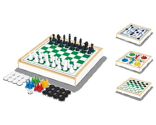 Jogo 4 em 1 (Xadrez, Ludo, Damas e Trilha) - Junges