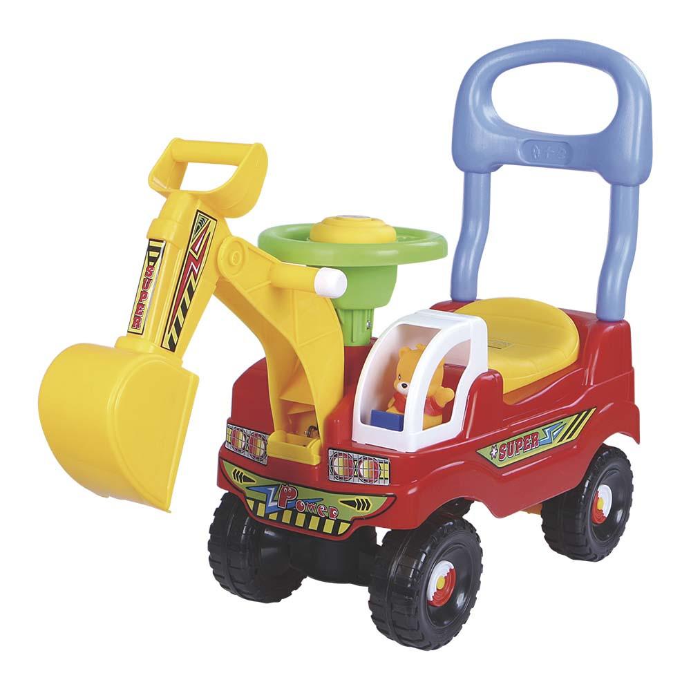 Andador e Carrinho Escavadeira com Volante e Buzina Vermelho DM TOYS DMT5607