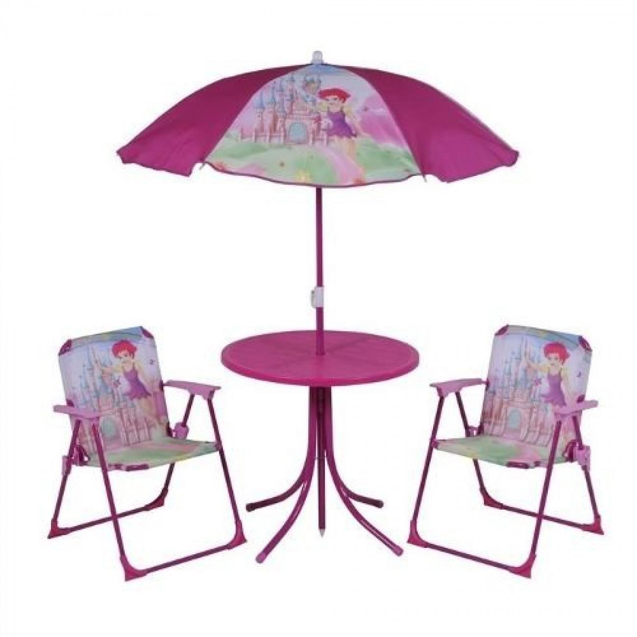 Conjunto Infantil Fadinha Mesa Cadeira e Guarda Sol - Rosa 002097 - MOR