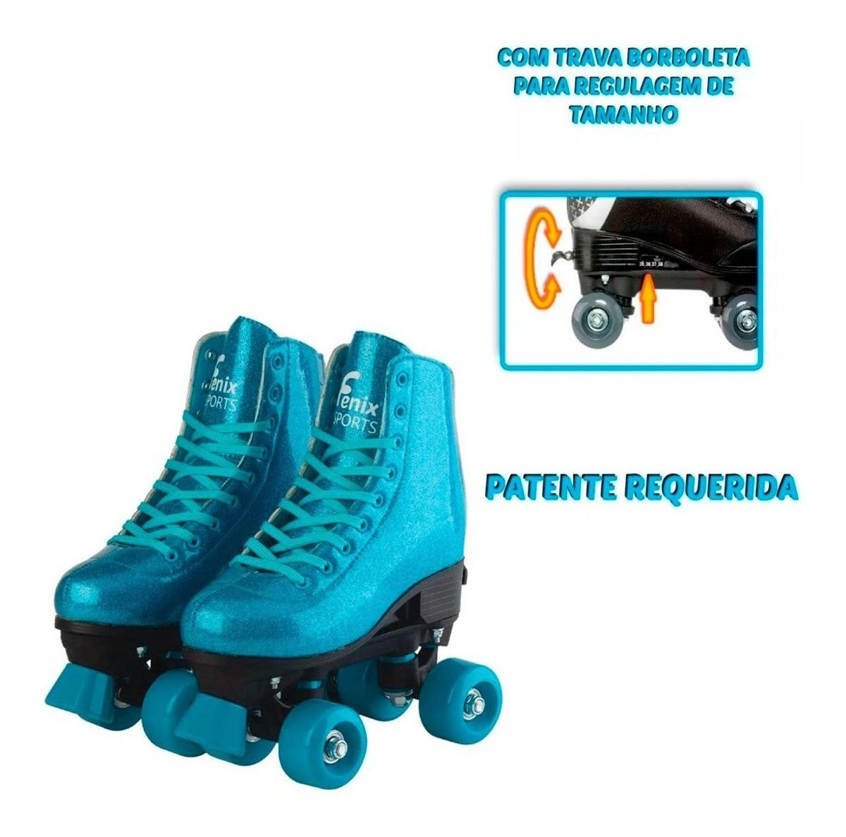 Patins Brilhante C/Glitter Ajustável PB01 Azul 31 a 34 - Fenix