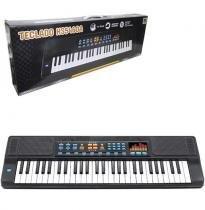 Teclado Piano Musical Infantil com Microfone com Aux Cabo Usb Pilha Preto Hs5460a -