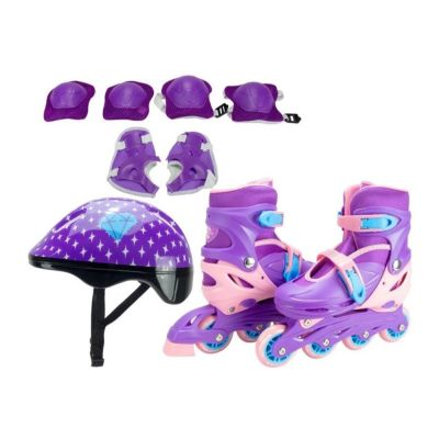 PATINS Kit IN LINE Lilas / Rosa 34 à 37 Unitoys