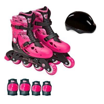 Patins Barbie Ajustáveis 4 Rodas 33 a 36 com Acessórios - F00108 - Fun