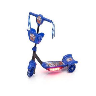 Patinete Com Cesta Azul Com Luz Emite Som Musical Infantil - Dm Toys